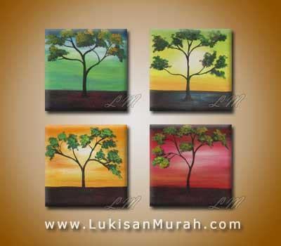 Lukisan Ukuran Besar Lukisan Abstrak Panel Kuning Keren Dan Terlaris lm078 pohon 4 warna lukisanmurah