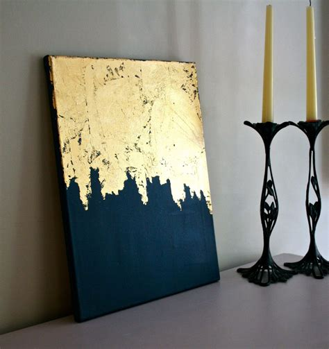 shabby chic artwork midnight gold gold leaf painting modern acrylic