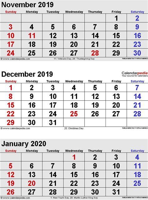 Calendar 2019 And 2020 December 2019 Calendars For Word Excel Pdf