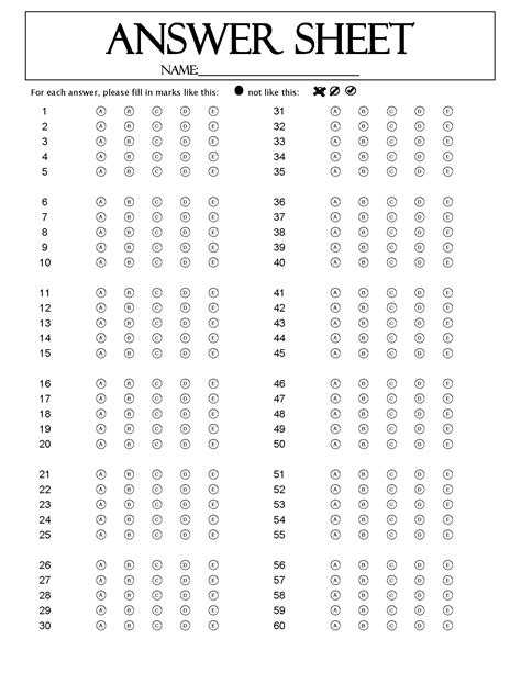 Blank Answer Sheet Template