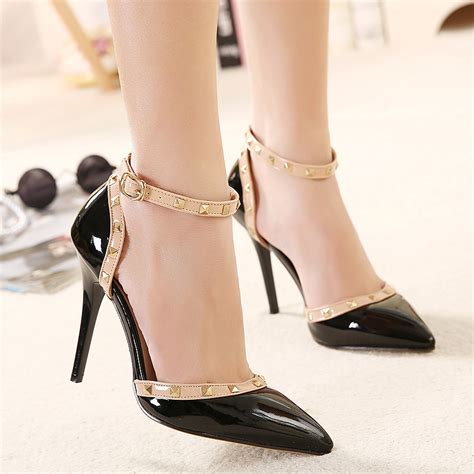 comfy high heel shoes rivet mix color ankle pointed toe