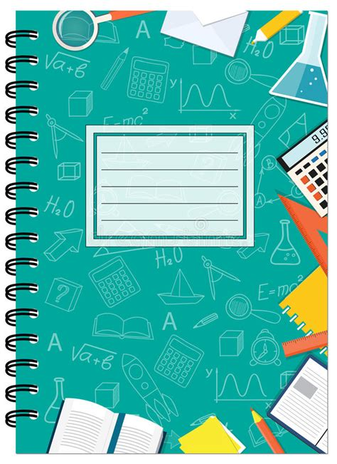 notebook cover design vector free download a5 cover design school notebook with stationery stock