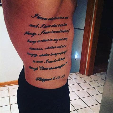mens rib cage tattoos 40 philippians 4 13 designs for bible verse