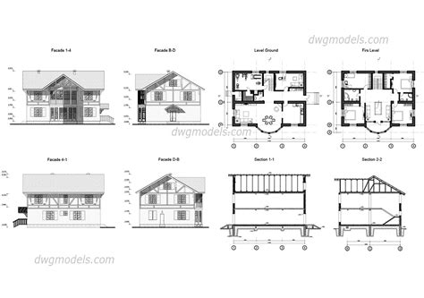 enhanced home design drafting villa autocad file facades plans free dwg file