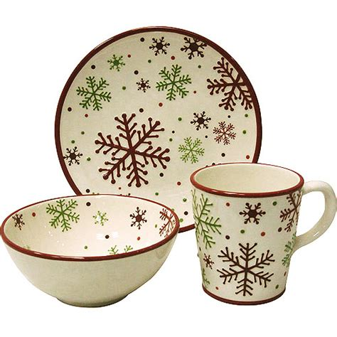 christmas snowflake 12 piece dinnerware set kitchen
