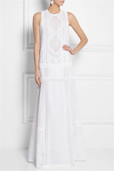 Dress Twiscone Import Maxi Dress lyst roberto cavalli cotton and crocheted lace maxi dress in white