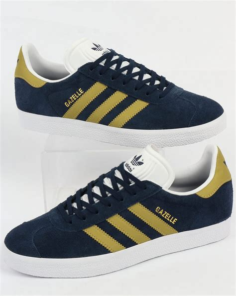Adidas Gazelle Navy Yellow adidas gazelle trainers navy gold originals shoes mens sneakers