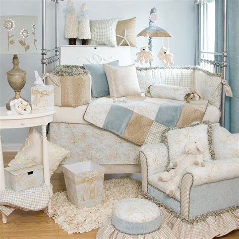 glenna jean baby boy blue toile designer crib nursery bedding quilt set ebay