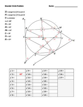 circle puzzle angles formed by secants and