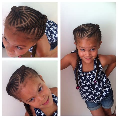 black kids plaited lines styles fishbone braids cornrows for girls natural hair kids