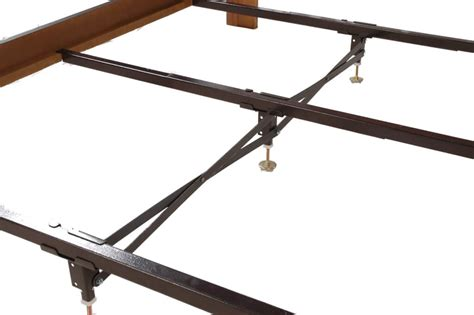 steel bed frame center support 3 rails 3 adjustable legs