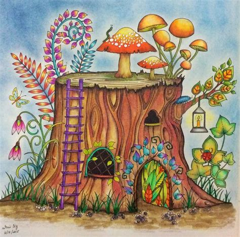 enchanted forest colored from enchanted forest watercolor pencils and colored