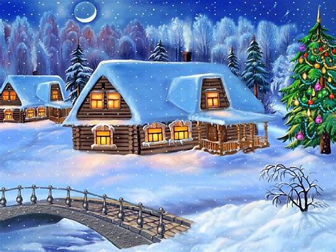 happy  year christmas tree winter village houses wooden