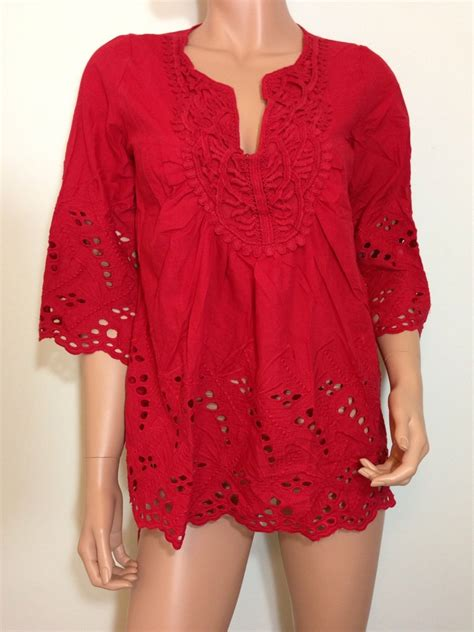 Tunic Boho Blouse Zeleka eyelet lace tunic top blouse hippie boho cotton small tops blouses
