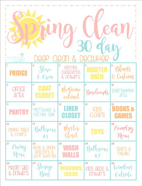 clean your house the 30 day clean home challenge spring clean up printable