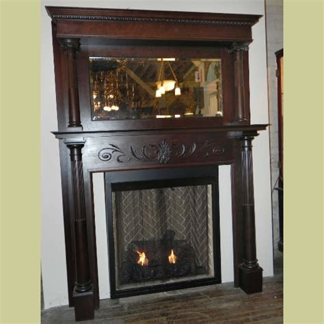 Vintage Fireplace Mantel by Antique Fireplace Mantel With Half Fluted Columns Beveled Mirror In Oak Stain