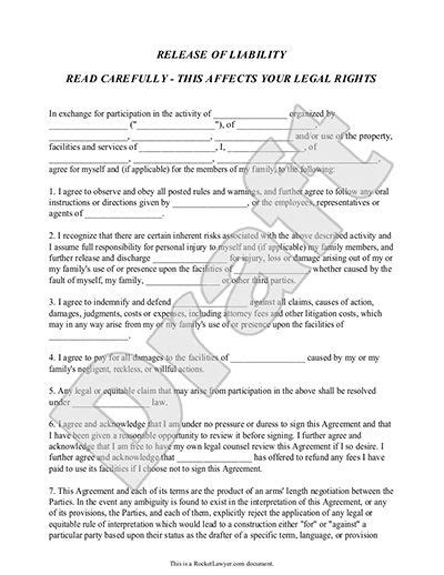 liability agreement template release of liability form waiver of liability template