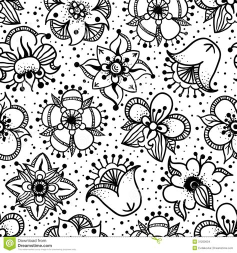 floral pattern hand drawing floral seamless pattern with hand drawn flowers stock