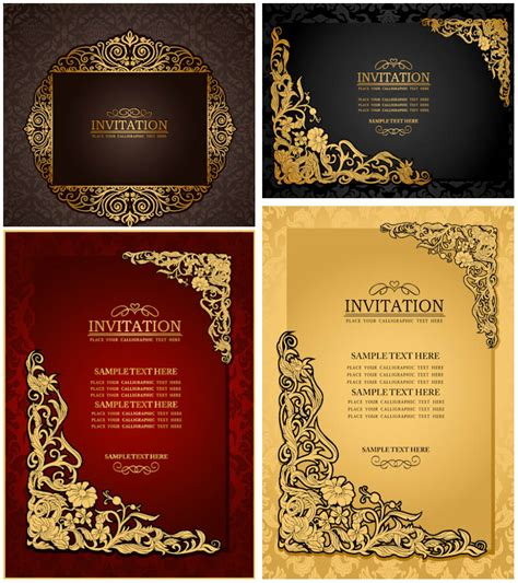 Classic Wedding Card Template by Classic Ornate Wedding Invitations Vector Vector