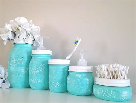 Jar Bathroom Decor by Painted Jars Home Decor Bathroom Decor Bathroom
