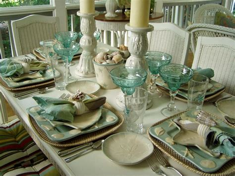 table scapes turquoise blue and a seashell motif create a playful table