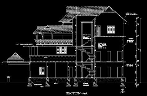 autocad section drawing traditional architecture customised