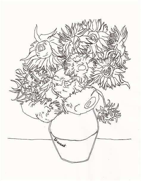 Free Coloring Pages Of Van Gogh Sunflower 16662 Gogh Coloring Page