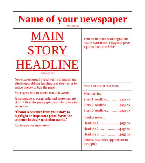 Newspaper Template Microsoft Word Free Download Newspaper Templates For Docs
