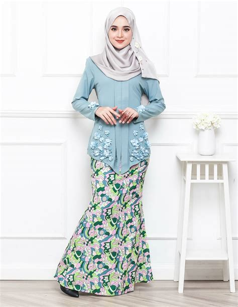 Baju Kurung Moden Warna Biru Turquoise baju kurung moden petrina aqua lovelysuri