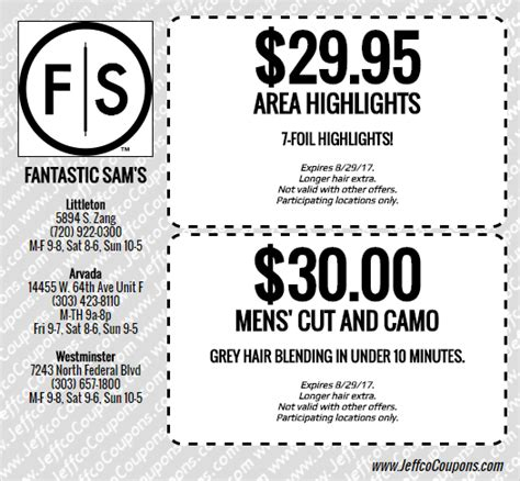 haircut coupons erie pa fantastic sams coupon palouse survival kit fantastic sams