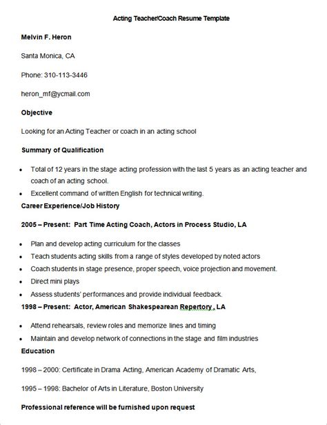 Acting Cover Letter Exles by Sle Coach Resume Resume Cv Cover Letter Resume