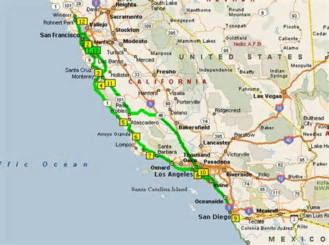 driving map california california driving distances and times