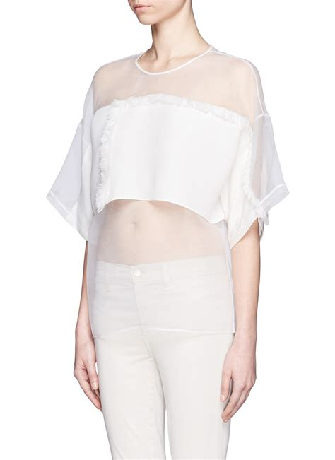Cubic Organza Top 1 lyst 3 1 phillip lim modesty fringe sheer organza top in white