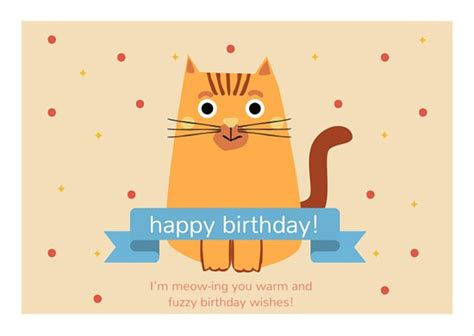 Happy Birthday Cat Card Cute Cat Happy Birthday Card Templates By Canva