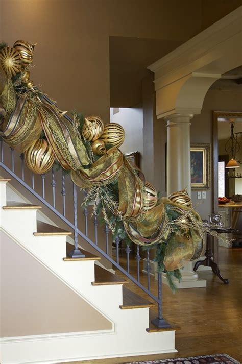 festive garland christmas stairs pinterest