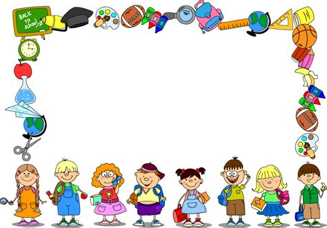 School Background Buscar Con School by Free Vector がらくた素材庫 文房具と子供達で囲んだフレーム School