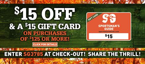 Sportsman S Guide Gift Card - the sportsman s guide 15 bucks off 15 gift card last day for whitetail