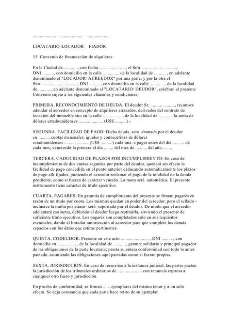 40 modelos escritos inmobiliarios ejemplo de convenio de pago acuerdo de pago en cuotas