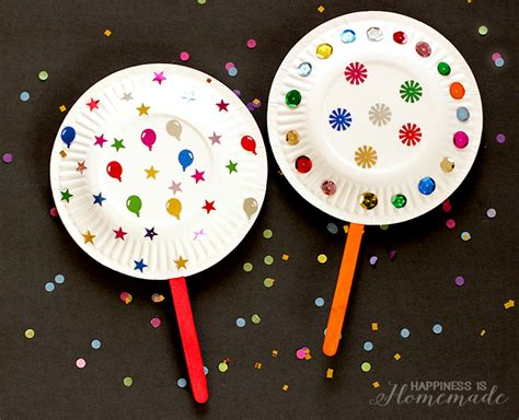New Year Paper Crafts - paper plate shaker noisemakers for new years