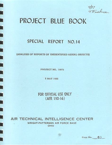 project blue book special report 14 ufo studies research papers and books