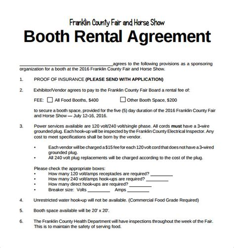contract rental agreement template booth rental agreement 8 free documents in pdf
