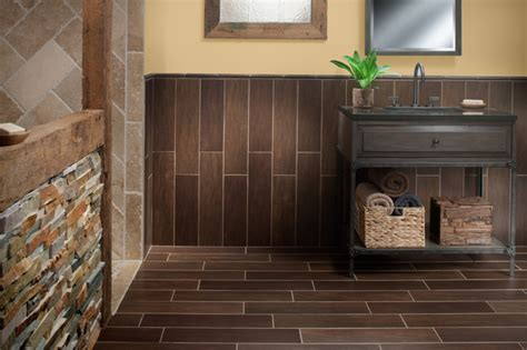 Walnut Bathroom Flooring by Exotica Walnut Wood Porcelain Tile