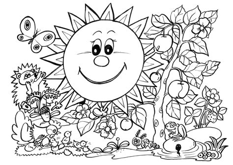 spring coloring pages sunny garden free printable