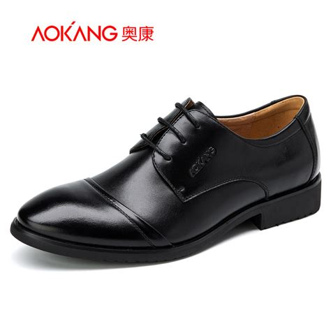 aokang 2016 genuine leather s oxfords quality brand business oxford dress shoes flats