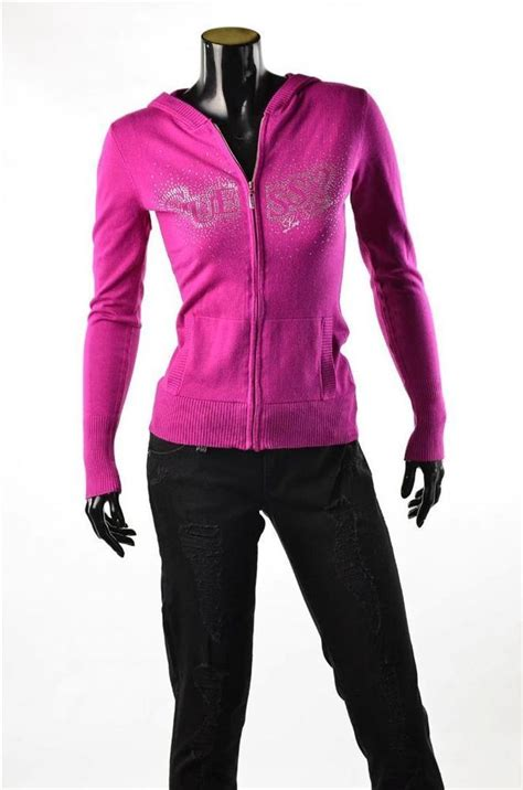 Hoodie Sweater Safety Pin Front Logo guess s pink sweater l s jacket logo cardigan hoodie sz m nwt guess cardigan