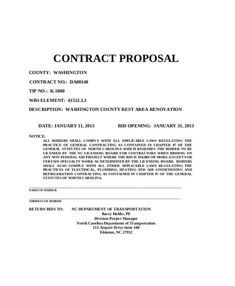 Proposal General Format | renovation contract template roofing contract template