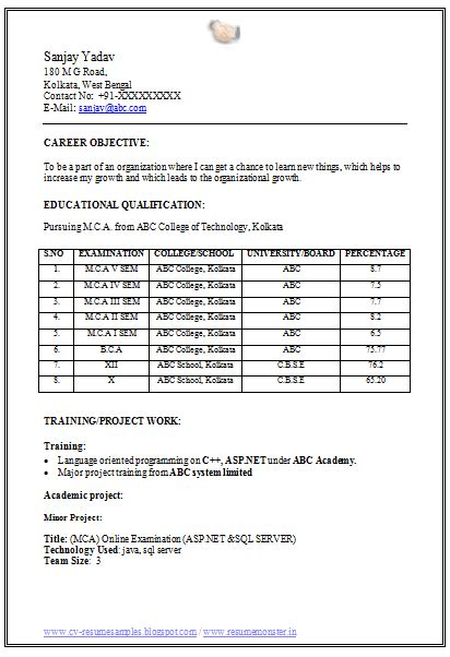 resume format for freshers student mca fresher resume format doc 1 career resume format and sle resume