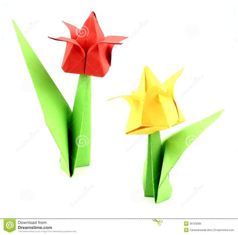 Origami Japanese Flower - origami tulip flower royalty free stock photo image