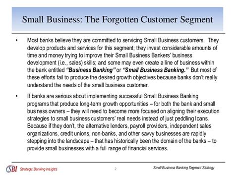 Small Business Banker by Small Business Banking Segment Strategy