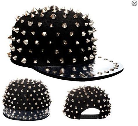 Studded Hat black multi stud studded spike snapback flat peaked cap hat